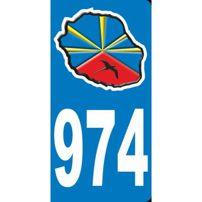 Stickers plaque d'immat Réunion